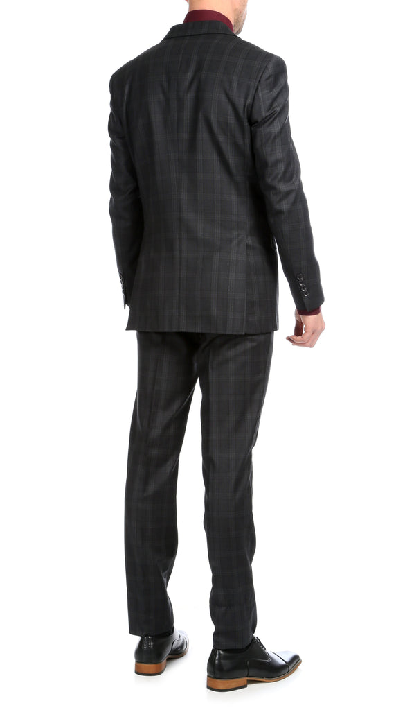Yves Black Plaid Check Men's Premium 2pc Premium Wool Slim Fit Suit - Ferrecci USA