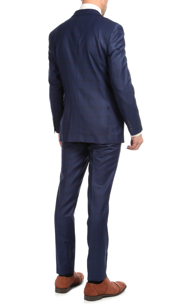 Yves Blue Plaid Check Men's Premium 2pc Premium Wool Slim Fit Suit - Ferrecci USA
