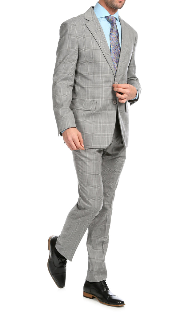 Yves Light Grey Plaid Check Men's Premium 2pc Premium Wool Slim Fit Suit - Ferrecci USA