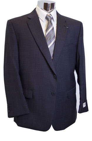 Zeke Executive Mens Navy Plaid Portly Suit - C92382