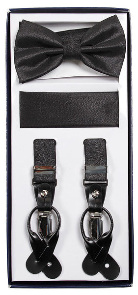 Vesuvio Napoli Suspenders & Bow-tie Hanky 3 Piece Set- Metallic Black