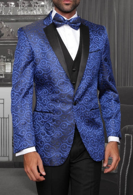 Statement Confidence - Bellagio Blue Paisley Men's 3 Piece Modern Fit Tuxedo