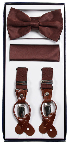 Vesuvio Napoli Suspenders & Bow-tie Hanky 3 Piece Set- Brown