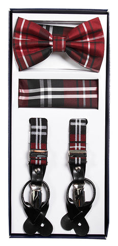 Burgundy Plaid Suspenders & Bowtie Hanky 3 Piece Set