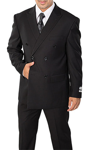 Men's Black Double Breasted 2 Piece Classic Fit Suit - C602DB