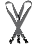 Suspenders Y Shape Back Elastic Button & Clip Convertible - Charcoal