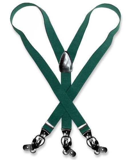 Suspenders Y Shape Back Elastic Button & Clip Convertible - Green