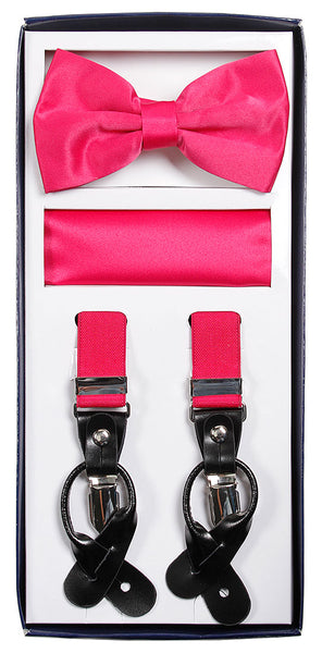 Vesuvio Napoli Suspenders & Bow-tie Hanky 3 Piece Set- Hot Pink