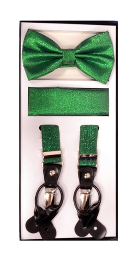 Vesuvio Napoli Suspenders & Bow-tie Hanky 3 Piece Set- Metallic Green