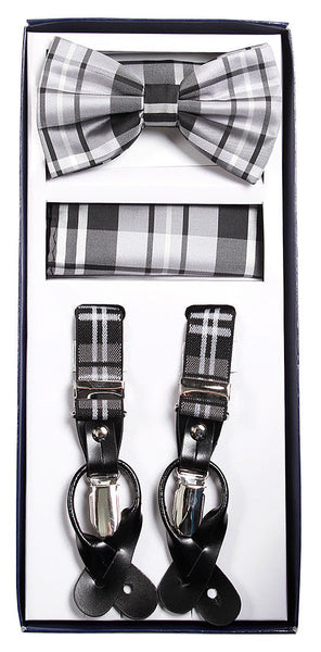 Grey Plaid Suspenders & Bowtie Hanky 3 Piece Set
