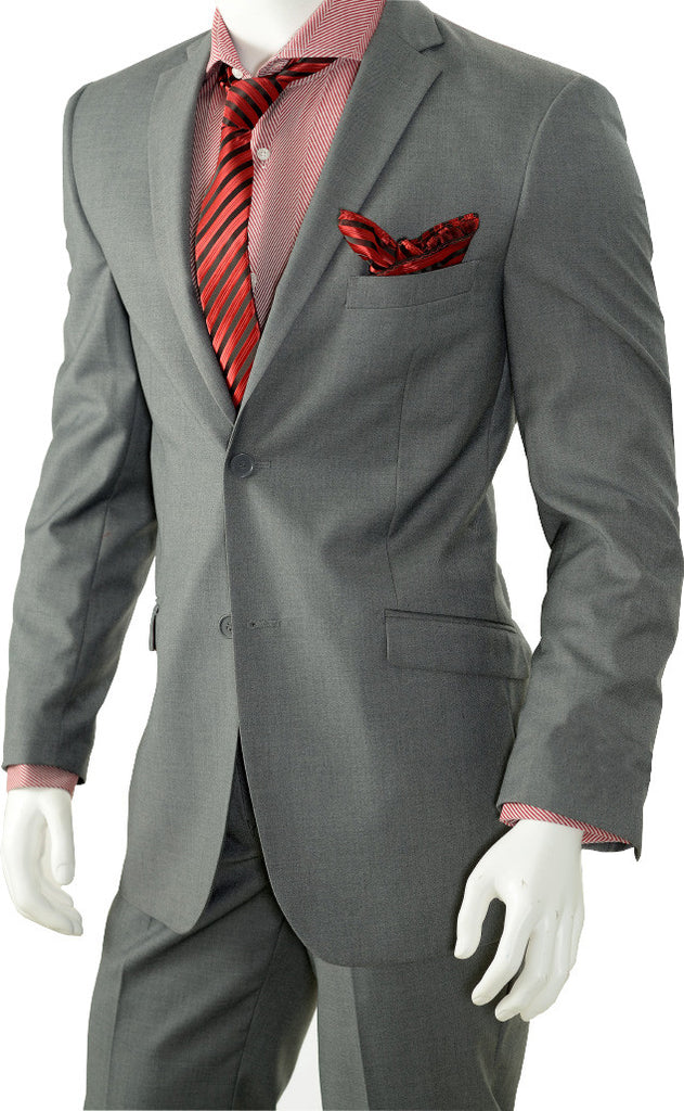 Men's 2 Button Slim Cut Solid Color Suit - S622KR