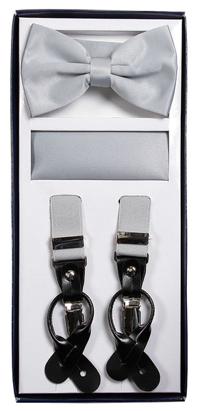 Vesuvio Napoli Suspenders & Bow-tie Hanky 3 Piece Set- Grey