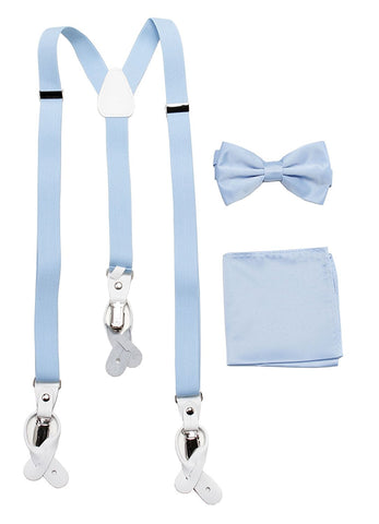 Vesuvio Napoli Suspenders & Bow-tie Hanky 3 Piece Set- Light Blue