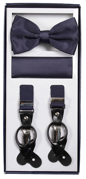 Vesuvio Napoli Suspenders & Bow-tie Hanky 3 Piece Set - Navy Blue