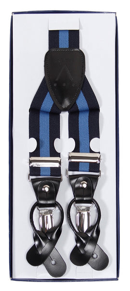Suspenders Y Shape Back Elastic Button & Clip Convertible - Navy Stripe
