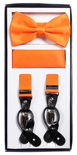 Vesuvio Napoli Suspenders & Bow-tie Hanky 3 Piece Set - Orange