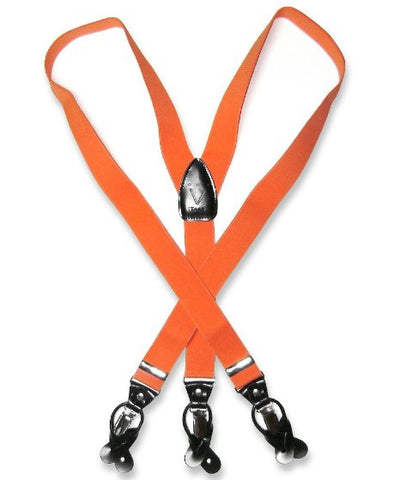 Suspenders Y Shape Back Elastic Button & Clip Convertible - Orange