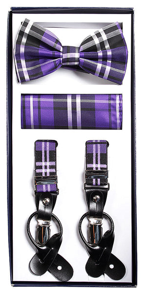 Vesuvio Napoli Suspenders & Bow-tie Hanky 3 Piece Set - Plaid Purple