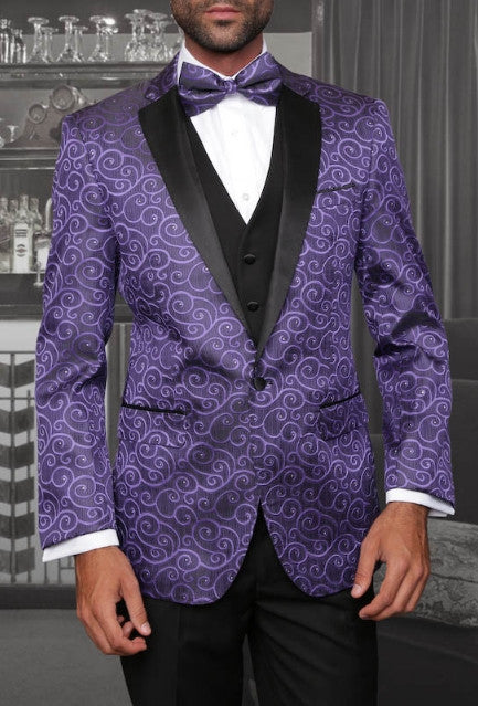 Statement Confidence - Bellagio Purple Paisley Men's 3 Piece Modern Fit Tuxedo