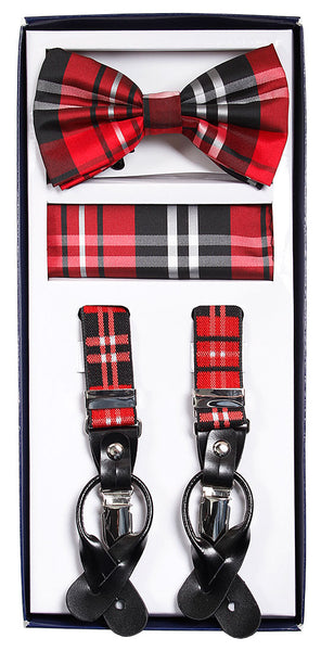 Vesuvio Napoli Suspenders & Bow-tie Hanky 3 Piece Set - Plaid Red