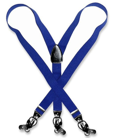 Suspenders Y Shape Back Elastic Button & Clip Convertible - Royal Blue