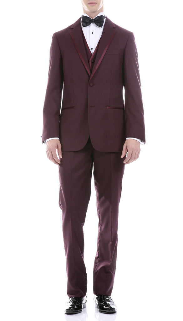 Celio Burgundy Slim Fit 3pc Tuxedo - Ferrecci USA
