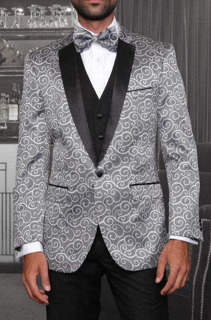 Statement Confidence - Bellagio Silver Paisley Men's 3 Piece Modern Fit Tuxedo