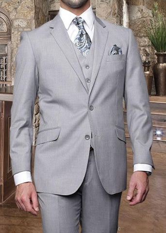 Tzarelli Mens Light Grey 3pc 2 Button Italian Designer Suit - TZ100