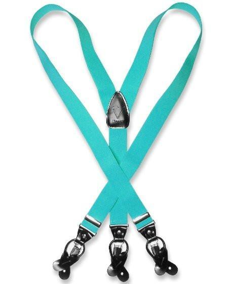 Suspenders Y Shape Back Elastic Button & Clip Convertible - Turquoise