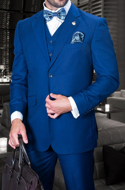 Tzarelli Mens Sapphire Blue 3pc 2 Button Italian Designer Suit - TZ100