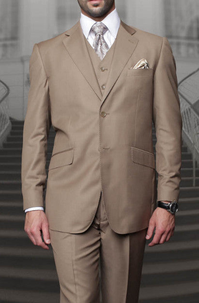 Tzarelli Mens Bronze (TAN) 3pc 2 Button Italian Designer Suit - TZ100