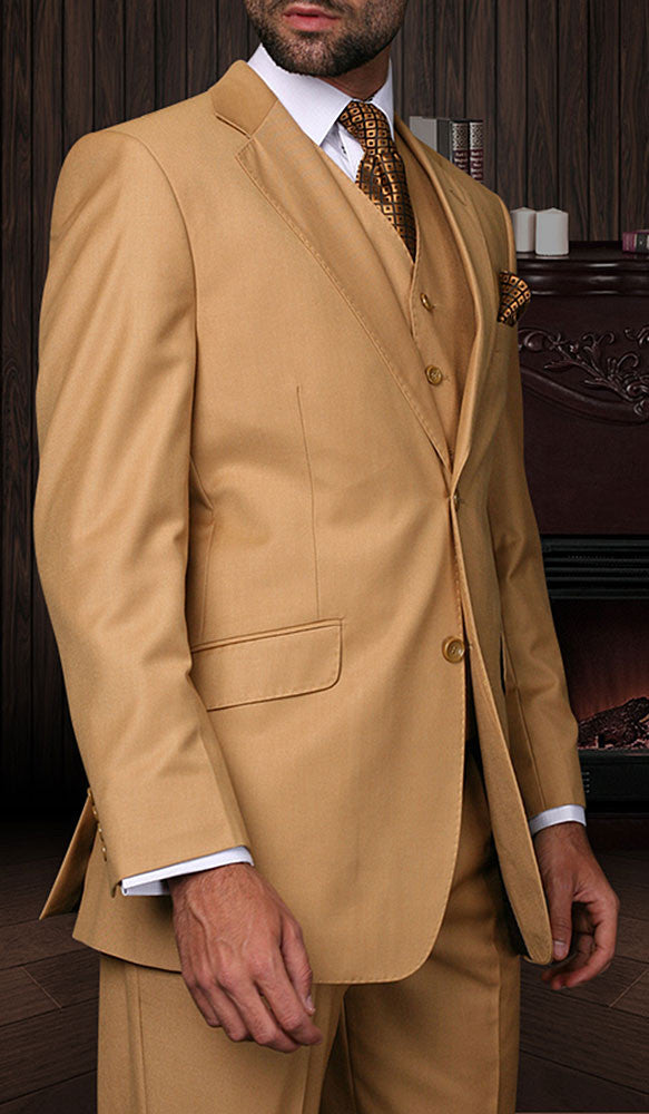 Tzarelli Mens Camel 3pc 2 Button Italian Designer Suit - TZ100
