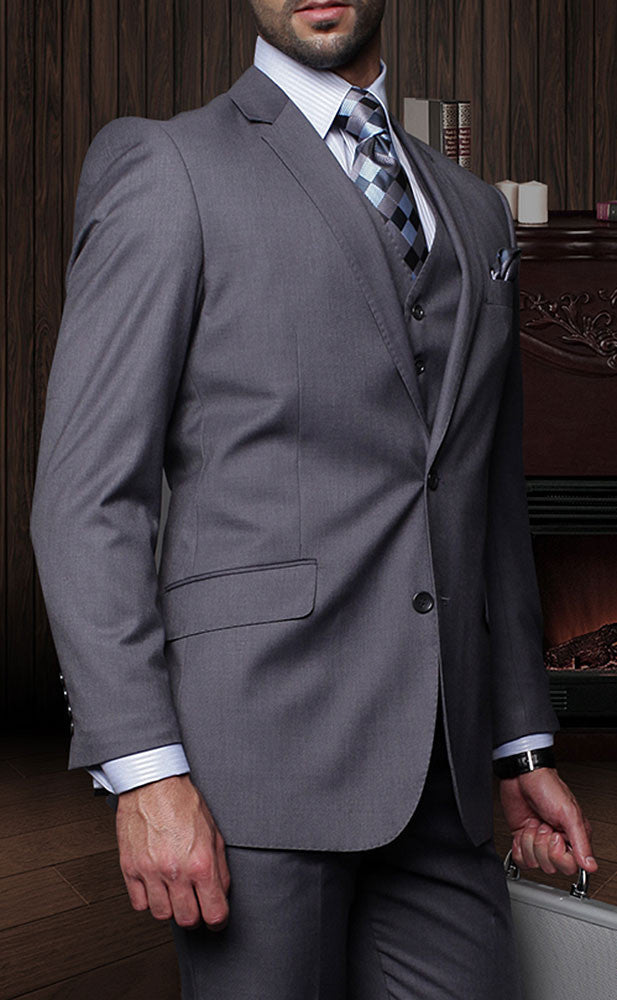 Tzarelli Mens Charcoal Grey 3pc 2 Button Italian Designer Suit - TZ100