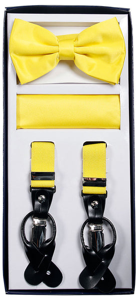 Yellow Suspenders & Bowtie Hanky 3 Piece Set