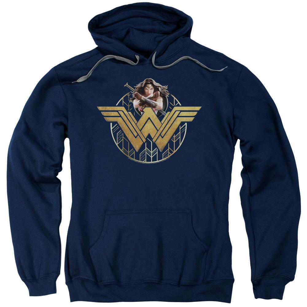 Wonder Woman Movie Power Stance & Emblem Adult Navy Hoodie