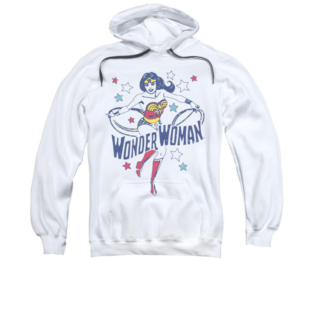 Wonder Woman Stars Adult White Hoodie
