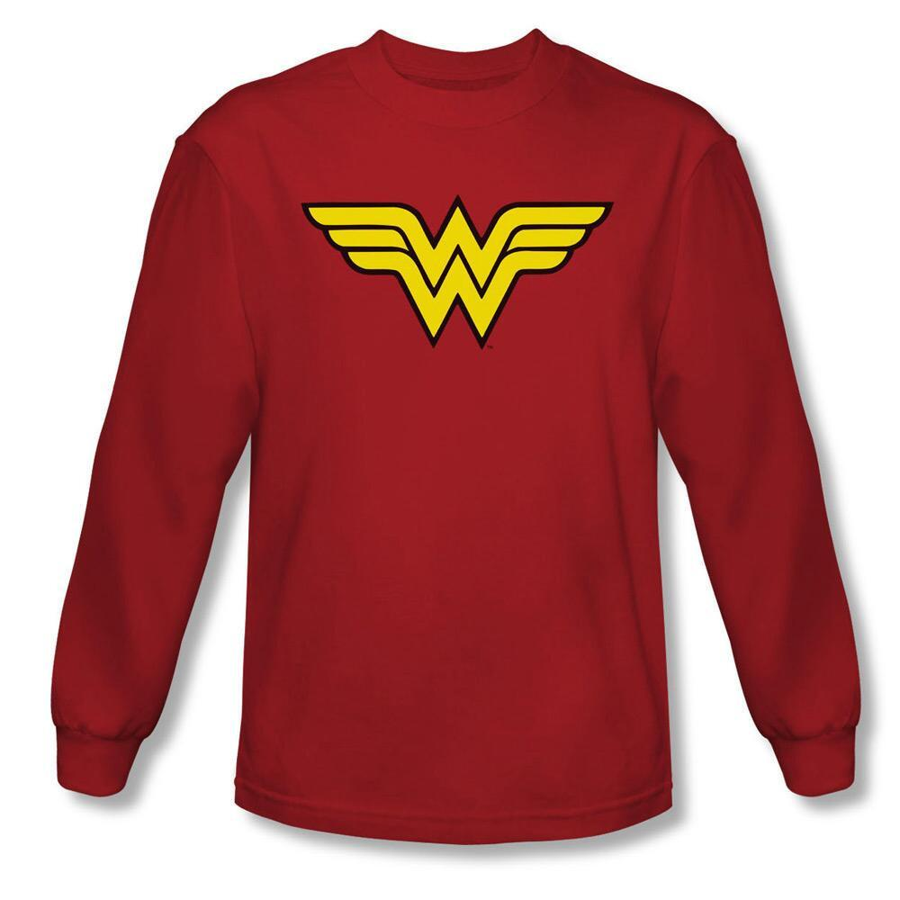 Wonder Woman Logo Adult Long Sleeve Red T-shirt