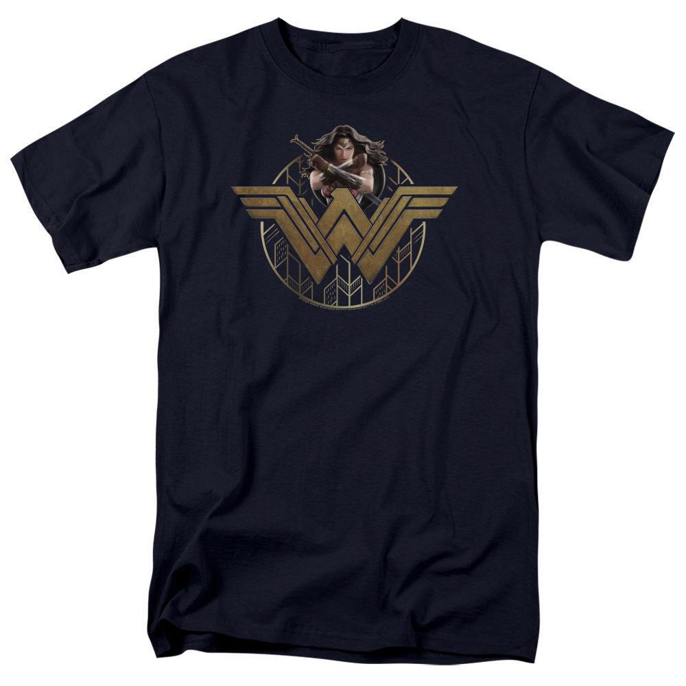 Wonder Woman Movie Power Stance & Emblem Adult Navy T-Shirt