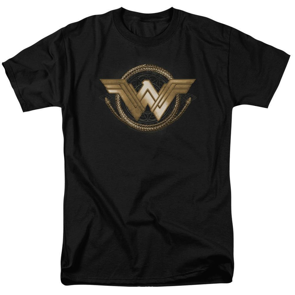 Wonder Woman Movie Lasso Logo Adult Black T-Shirt