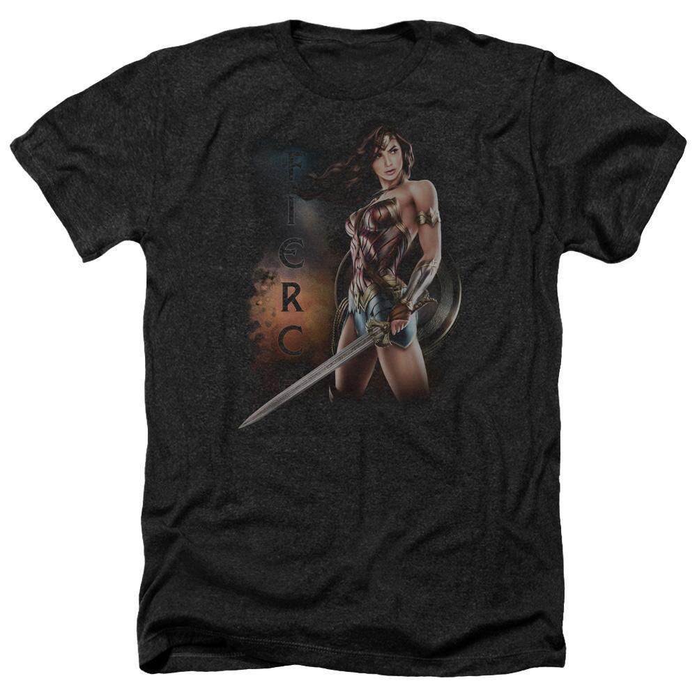 Wonder Woman Movie Fierce Adult Heather Black T-Shirt