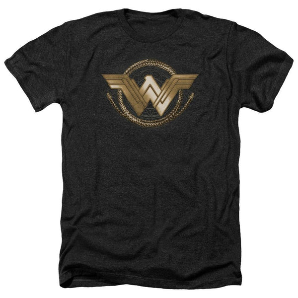 Wonder Woman Movie Lasso Logo Adult Heather Black T-Shirt