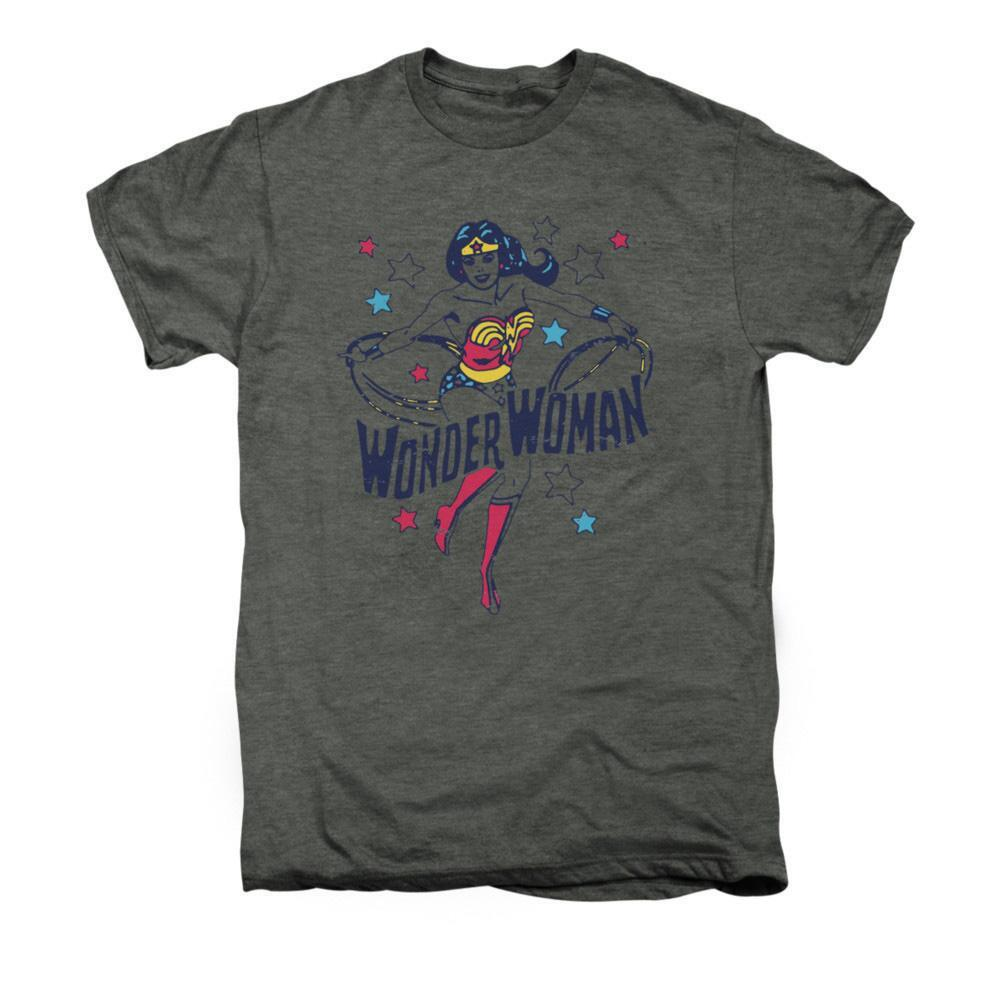 Wonder Woman Wonder Stars Adult Premium Platinum Heather T-shirt