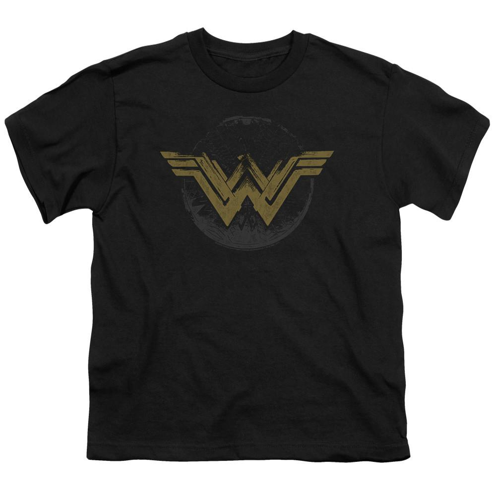 Wonder Woman Movie Distressed Logo Youth Black T-Shirt