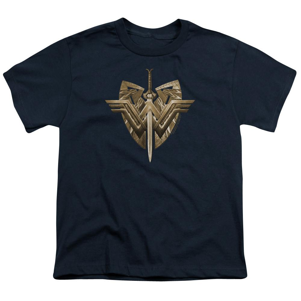 Wonder Woman Movie Sword & Emblem Youth Navy T-Shirt