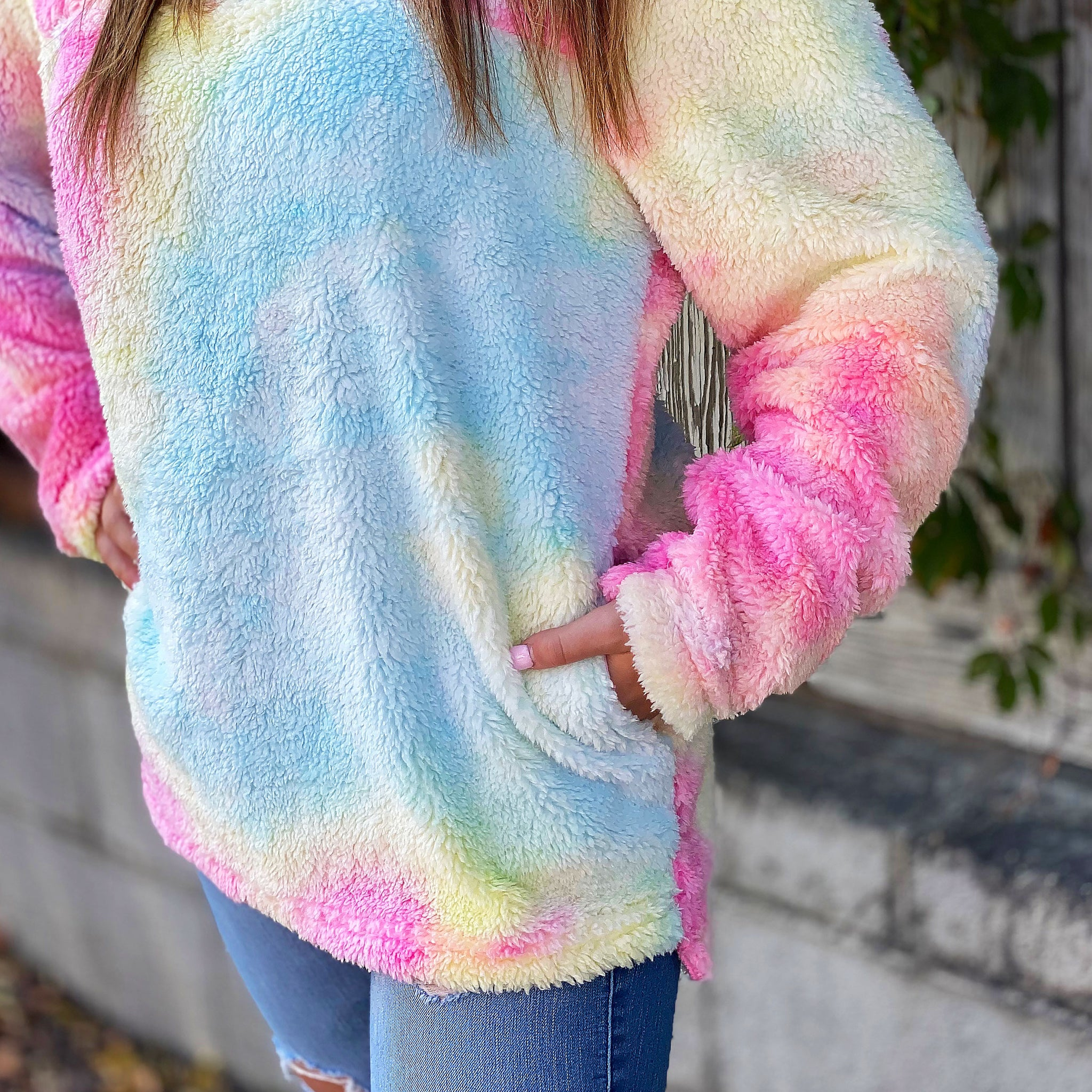 Wrapped In Warmth Rainbow Sherpa - Pullover