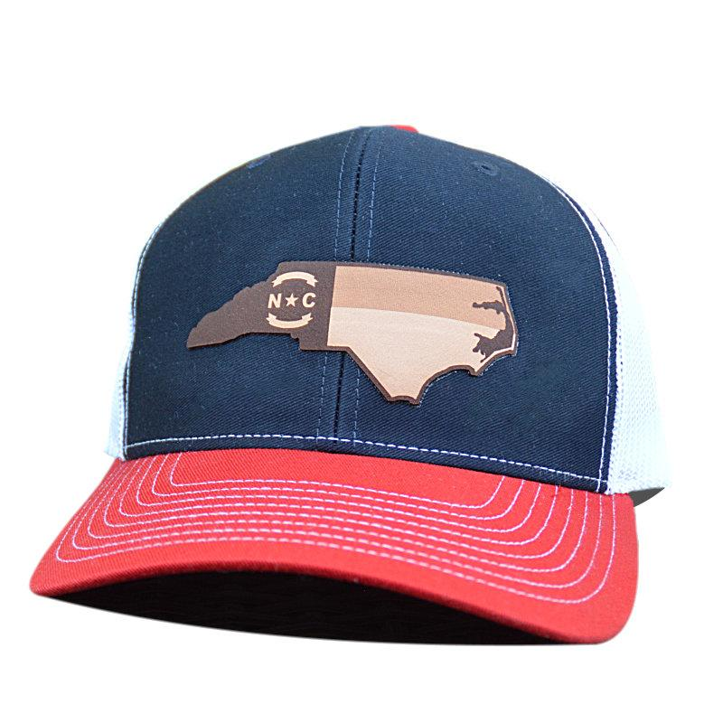 NC Outline Etched Leather Patch - Trucker Hat