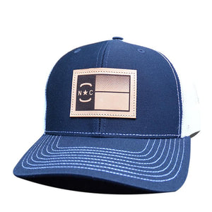 NC Flag Leather Patch - Trucker Hat