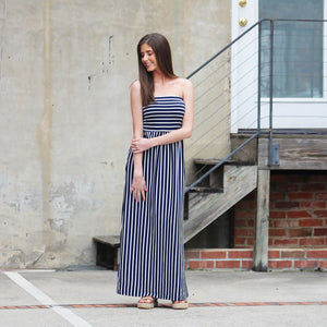 The Tribute Stripe Maxi - Dress - Navy