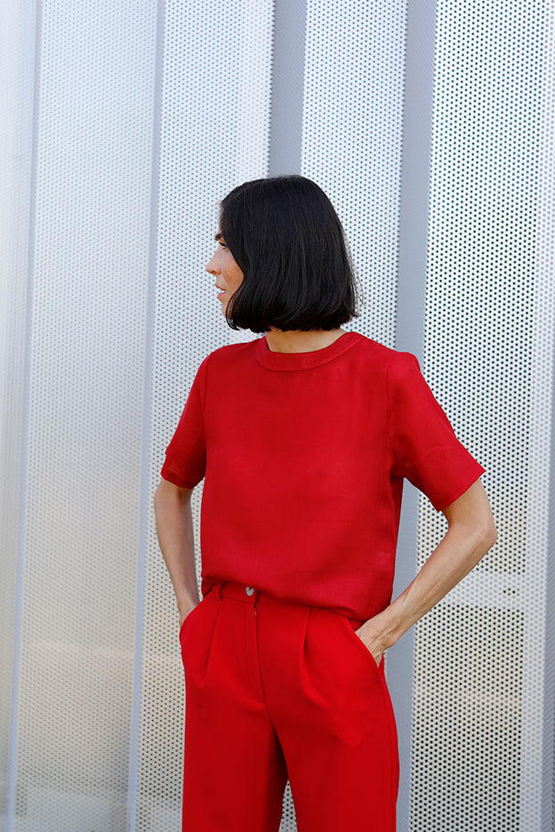 red wool mousseline shirt