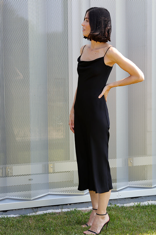 cowl neck bias slip dress.